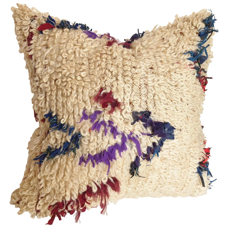 Custom Pillow Cut from a Moroccan Wool Beni Ouarain Rug For Sale