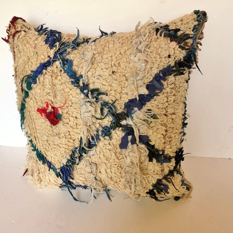 Hand-Woven Custom Pillow Cut from a Vintage Beni Ouarain Moroccan Rug For Sale