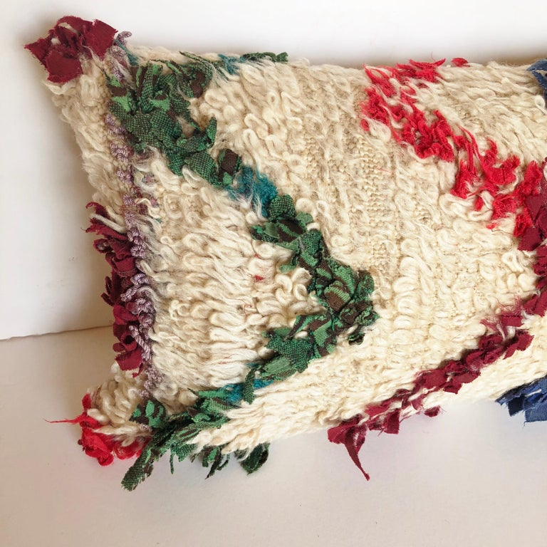 Custom Pillow Cut from a Vintage Beni Ouarain Moroccan Rug In Good Condition For Sale In Glen Ellyn, IL