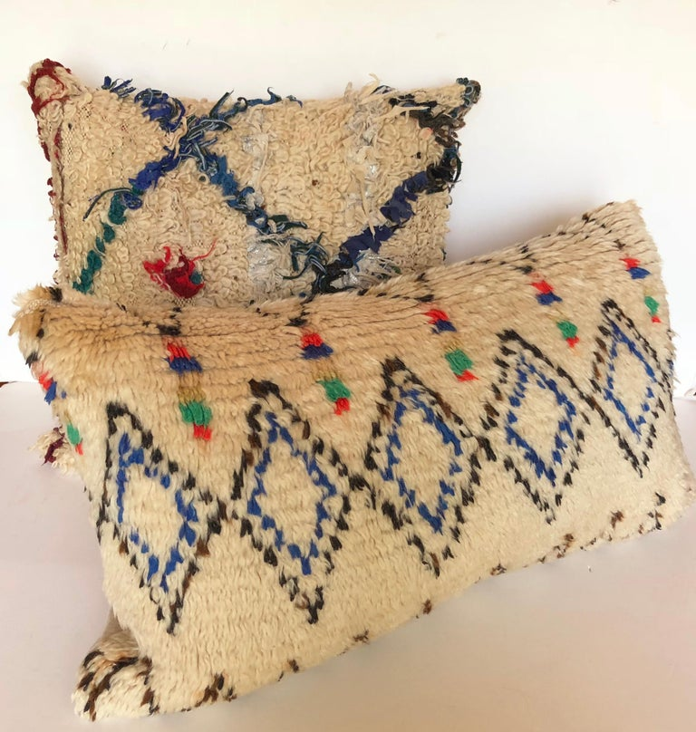 20th Century Custom Pillow Cut from a Vintage Beni Ouarain Moroccan Rug For Sale