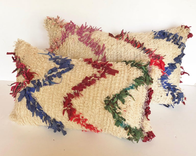 Wool Custom Pillow Cut from a Vintage Beni Ouarain Moroccan Rug For Sale