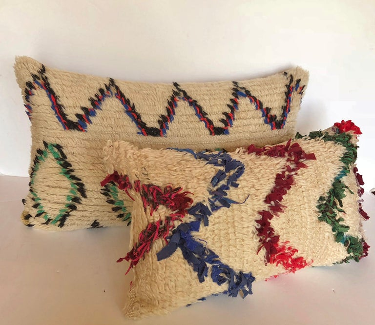 Custom Pillow Cut from a Vintage Beni Ouarain Moroccan Rug For Sale 2