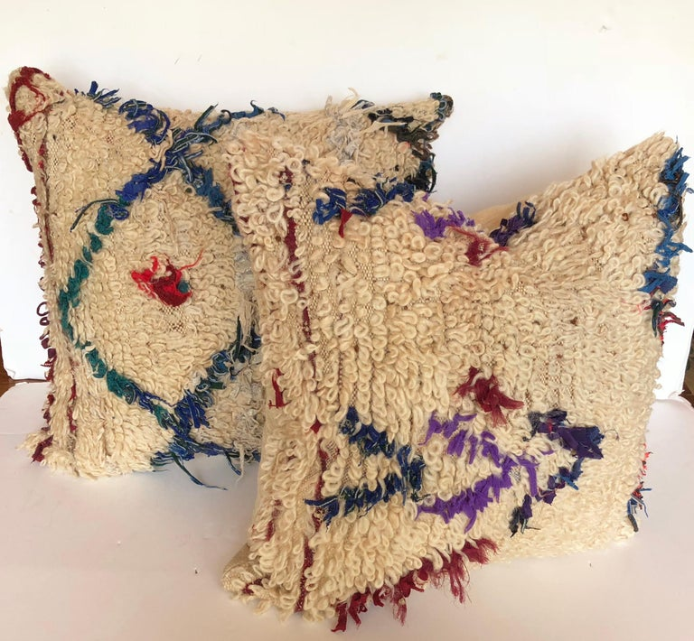 Custom Pillow Cut from a Vintage Beni Ouarain Moroccan Rug For Sale 3