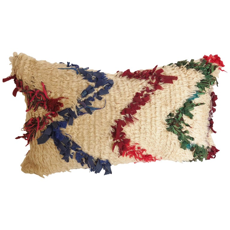 Custom Pillow Cut from a Vintage Beni Ouarain Moroccan Rug For Sale