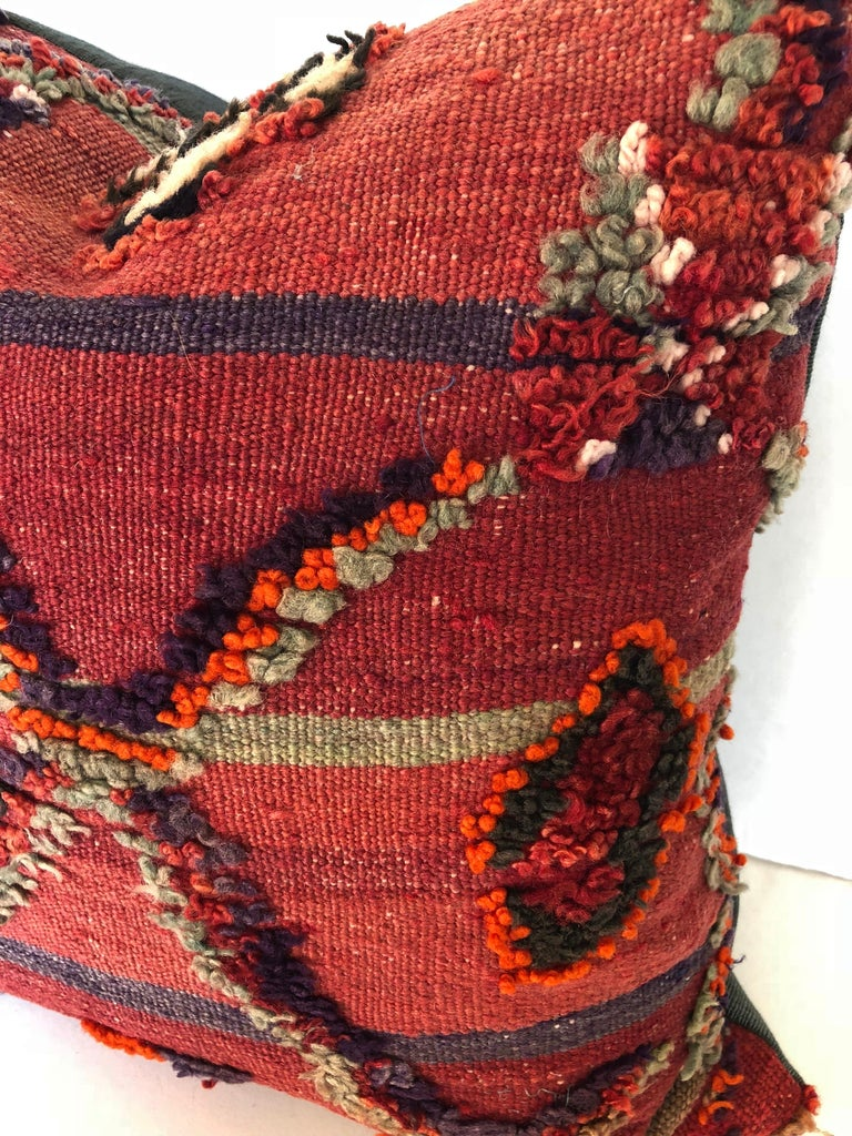 Tribal Custom Pillow by Maison Suzanne Cut from a Vintage Hand Loomed Wool Moroccan Rug For Sale