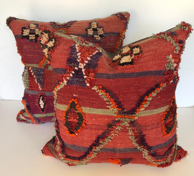 Hand-Woven Custom Pillow by Maison Suzanne Cut from a Vintage Hand Loomed Wool Moroccan Rug For Sale