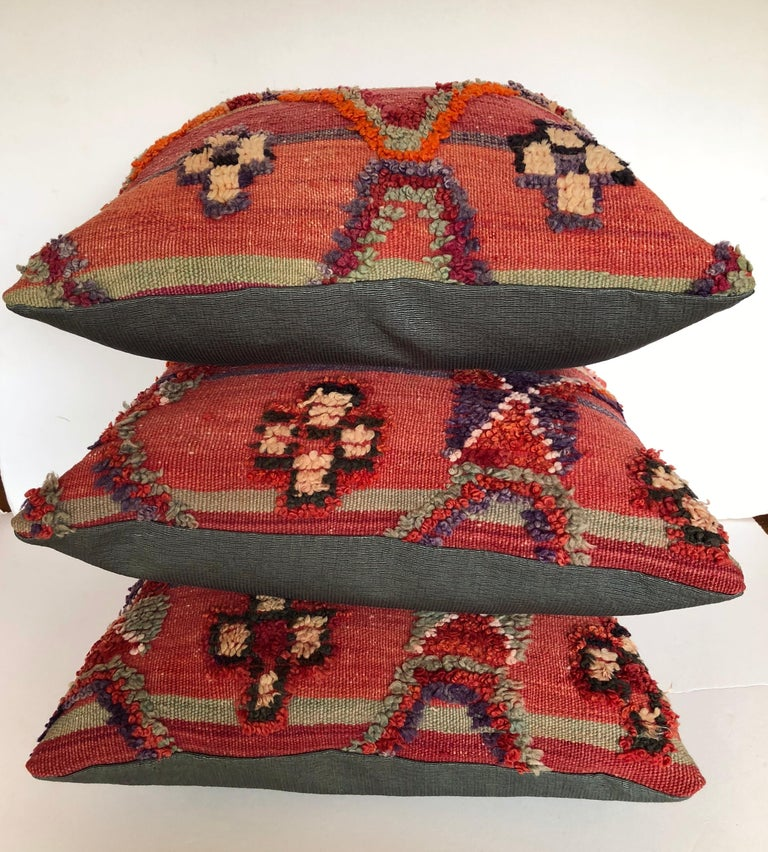 Custom Pillow by Maison Suzanne Cut from a Vintage Hand Loomed Wool Moroccan Rug For Sale 1