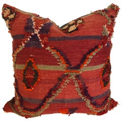 Custom Pillow by Maison Suzanne Cut from a Vintage Hand Loomed Wool Moroccan Rug