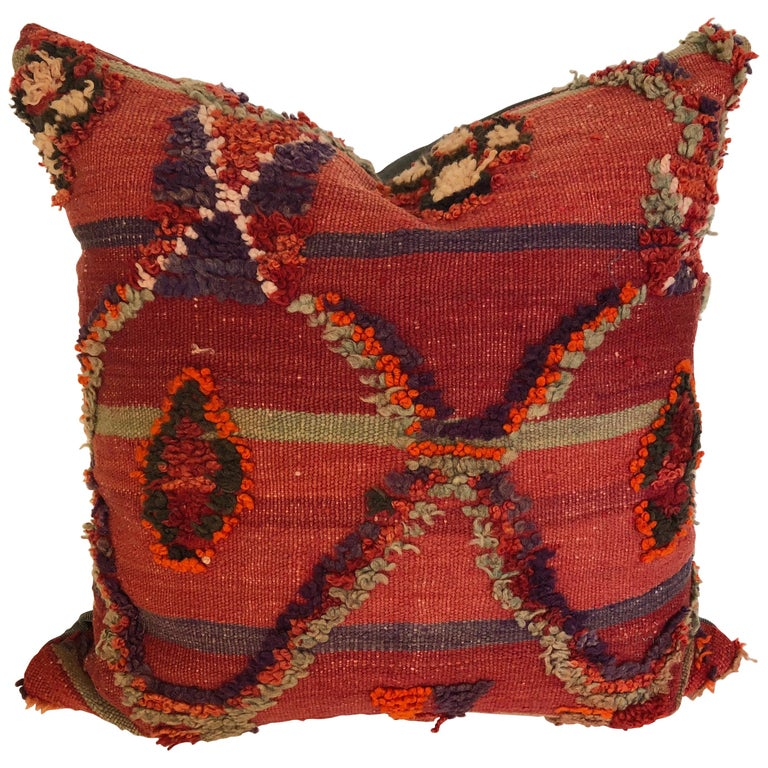 Custom Pillow by Maison Suzanne Cut from a Vintage Hand Loomed Wool Moroccan Rug For Sale