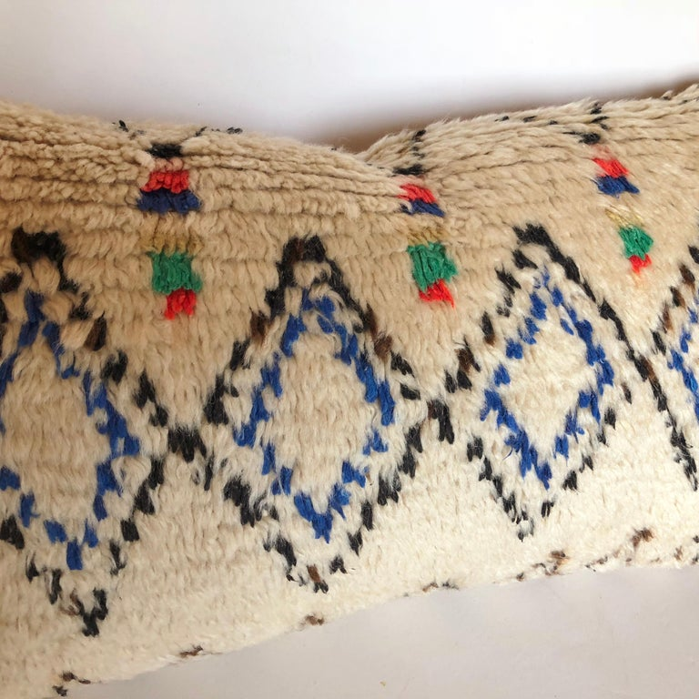 Hand-Woven Custom Pillow Cut from a Vintage Moroccan Azilal Rug For Sale