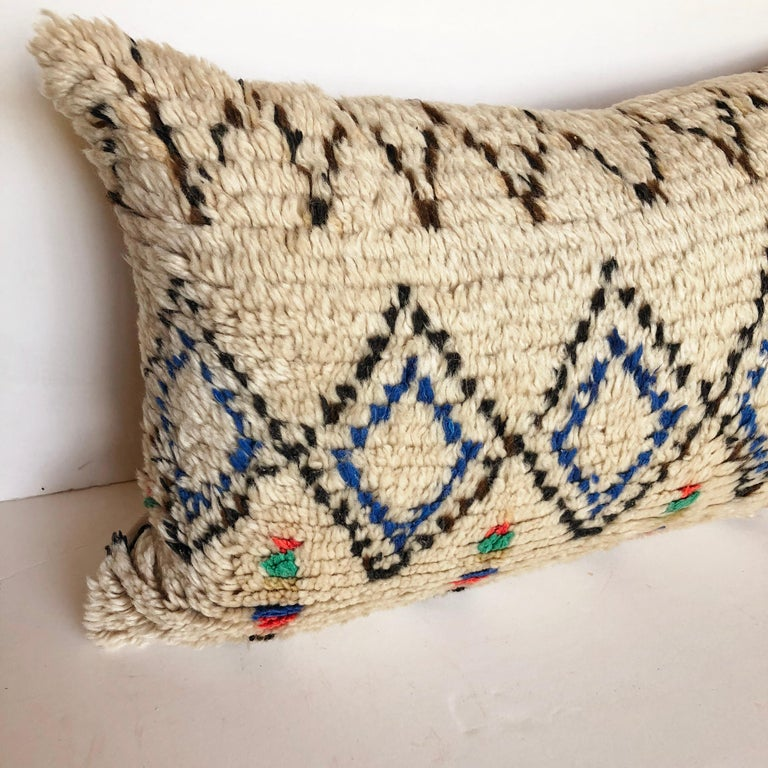 Custom Pillow Cut from a Vintage Moroccan Azilal Rug In Good Condition For Sale In Glen Ellyn, IL