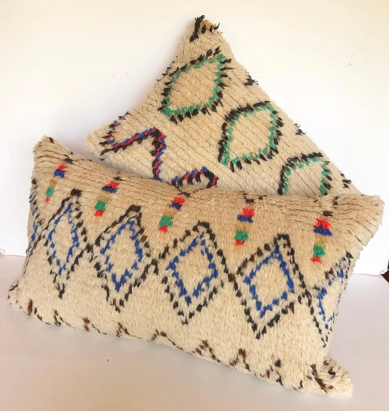 20th Century Custom Pillow Cut from a Vintage Moroccan Azilal Rug For Sale