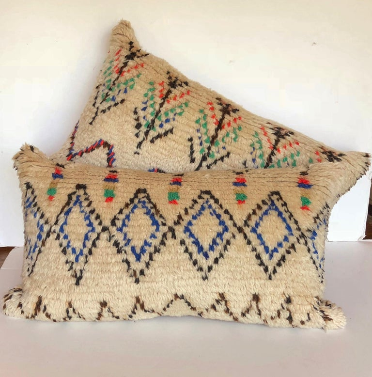 Wool Custom Pillow Cut from a Vintage Moroccan Azilal Rug For Sale