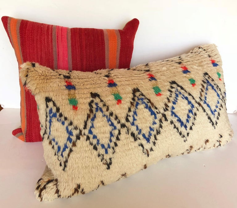 Custom Pillow Cut from a Vintage Moroccan Azilal Rug For Sale 1