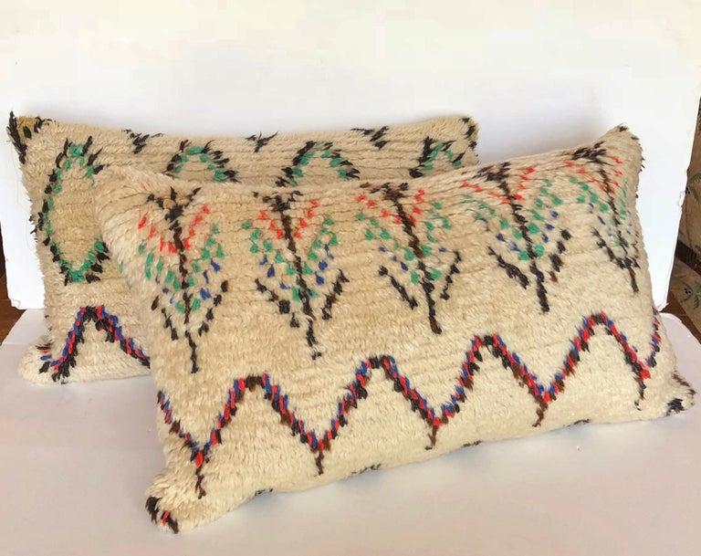 Hand-Woven Custom Pillow Cut from a Vintage Moroccan Wool Azilal Rug For Sale
