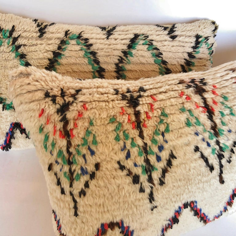 Custom Pillow Cut from a Vintage Moroccan Wool Azilal Rug In Good Condition For Sale In Glen Ellyn, IL