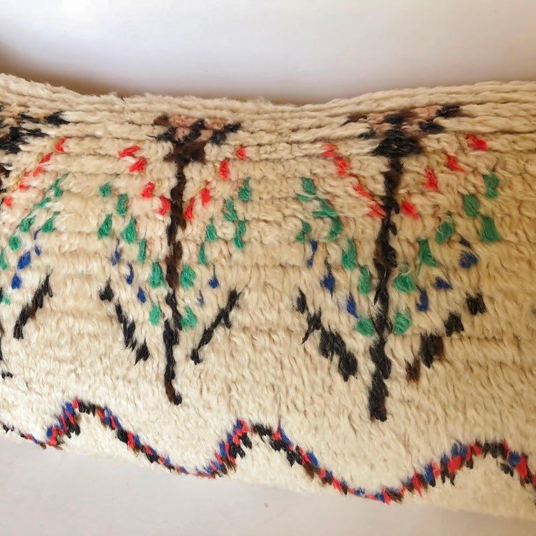 20th Century Custom Pillow Cut from a Vintage Moroccan Wool Azilal Rug For Sale
