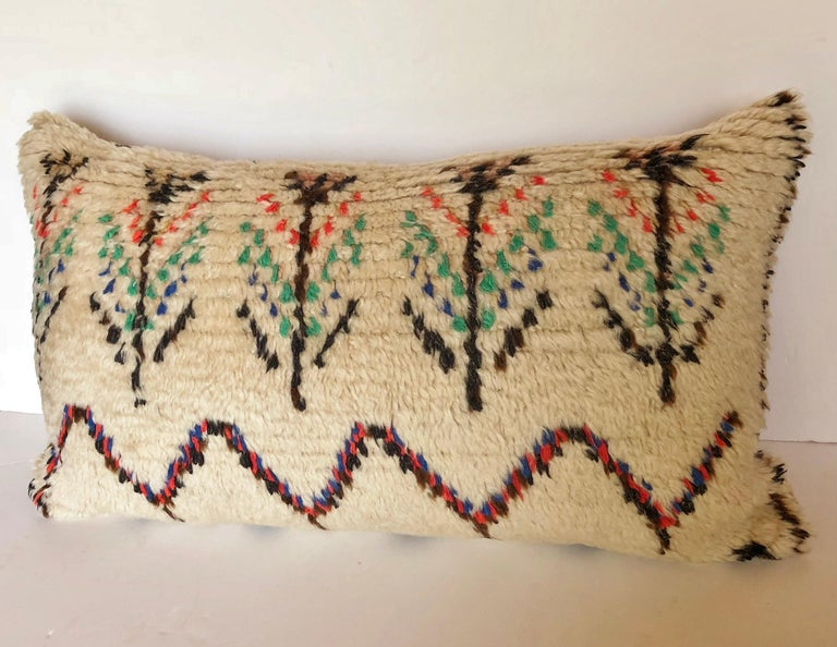 Custom Pillow Cut from a Vintage Moroccan Wool Azilal Rug For Sale 3