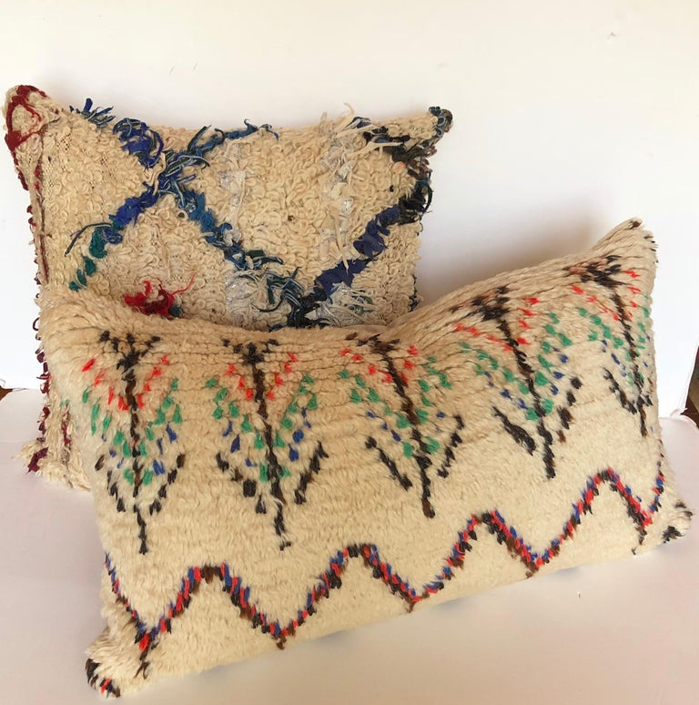 Custom Pillow Cut from a Vintage Moroccan Wool Azilal Rug For Sale 4