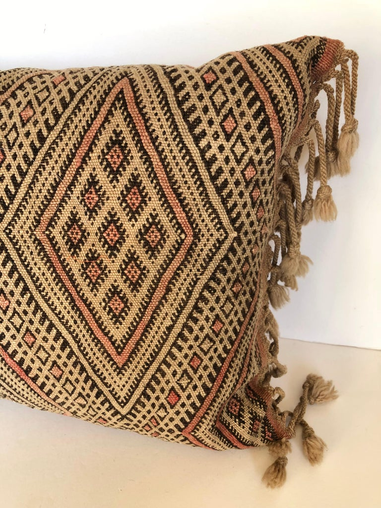 Tribal Custom Pillow by Maison Suzanne Cut from a Vintage Moroccan Wool Berber Rug For Sale