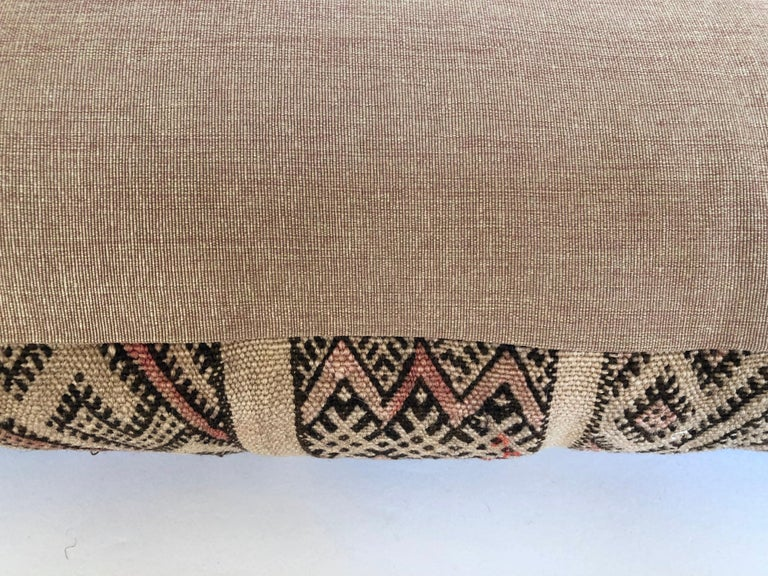 Hand-Woven Custom Pillow by Maison Suzanne Cut from a Vintage Moroccan Wool Berber Rug For Sale