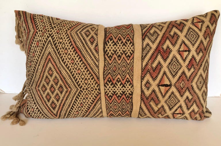 Custom Pillow by Maison Suzanne Cut from a Vintage Moroccan Wool Berber Rug In Good Condition For Sale In Glen Ellyn, IL
