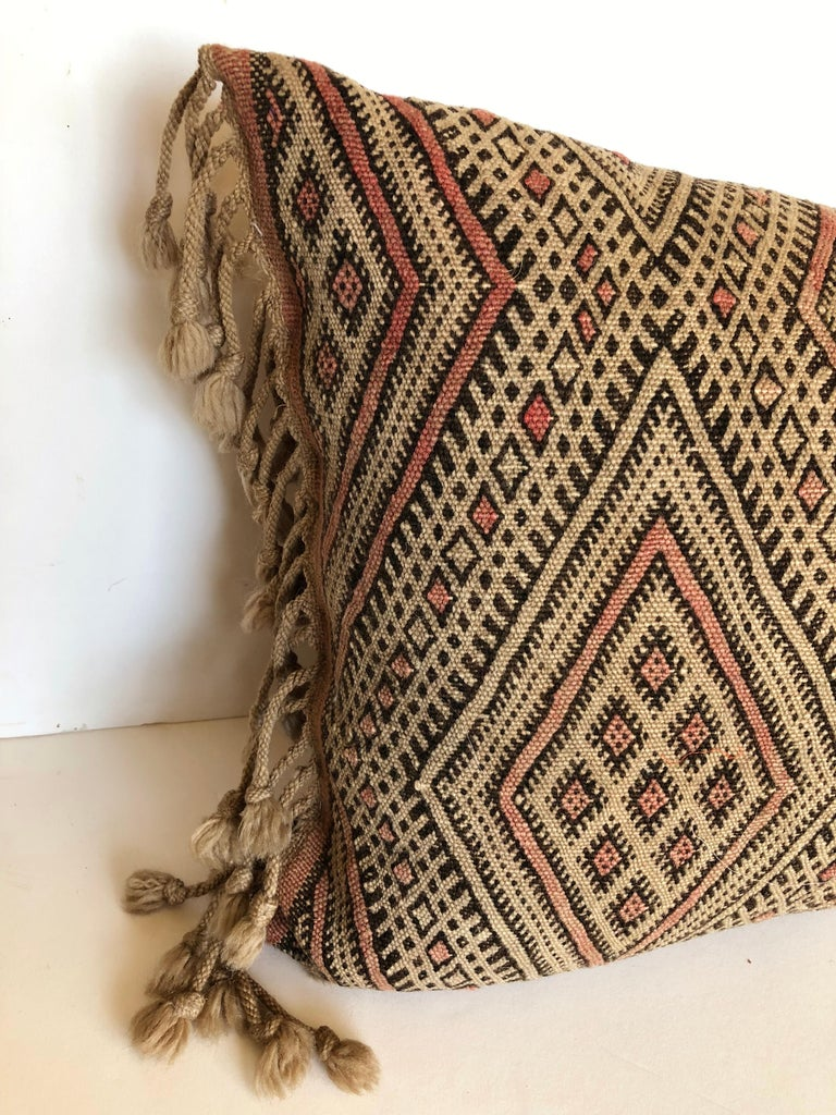 20th Century Custom Pillow by Maison Suzanne Cut from a Vintage Moroccan Wool Berber Rug For Sale
