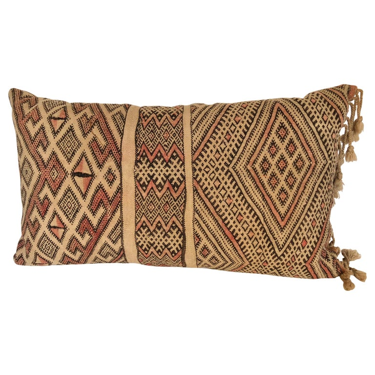 Custom Pillow by Maison Suzanne Cut from a Vintage Moroccan Wool Berber Rug For Sale