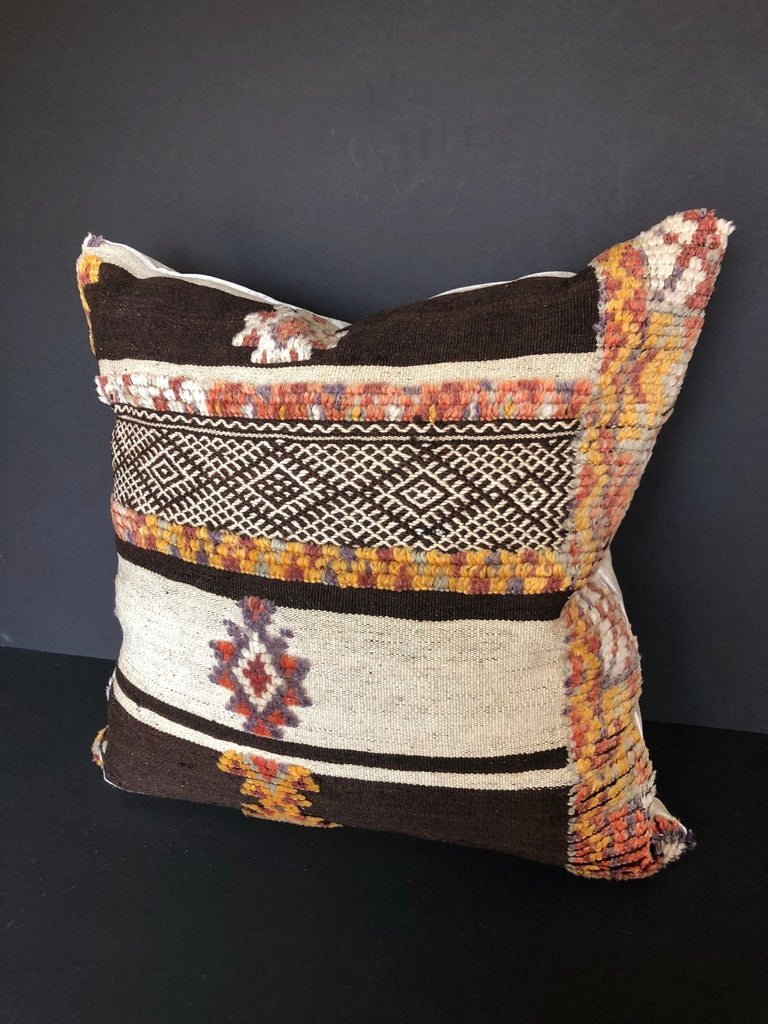 Mid-Century Modern Custom Pillow by Maison Suzanne Cut from a Vintage Moroccan Wool Glaoui Rug For Sale