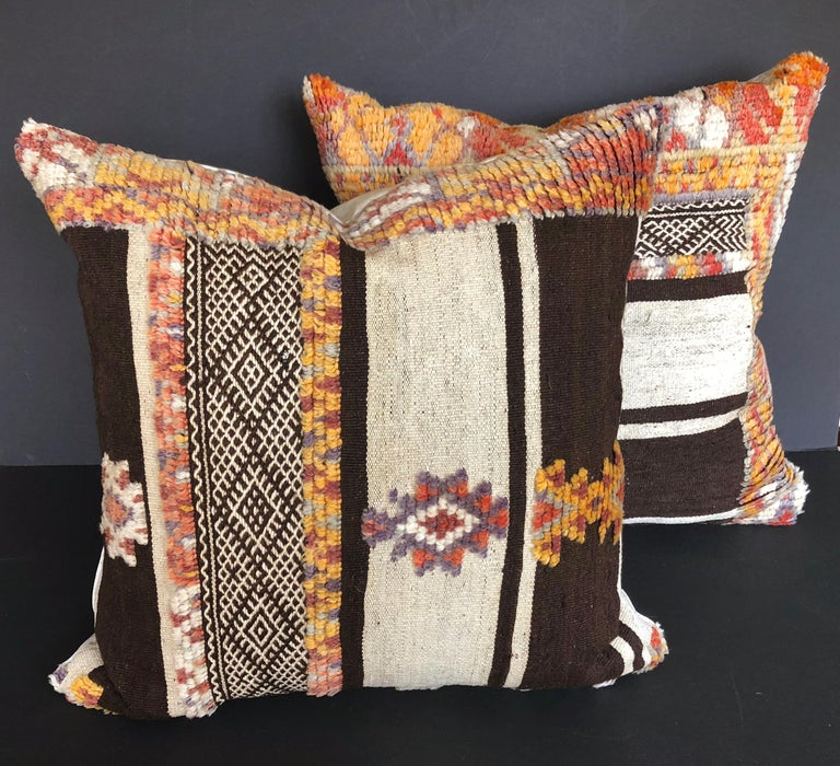 Hand-Woven Custom Pillow by Maison Suzanne Cut from a Vintage Moroccan Wool Glaoui Rug For Sale