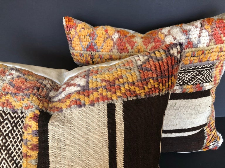 Custom Pillow by Maison Suzanne Cut from a Vintage Moroccan Wool Glaoui Rug In Good Condition For Sale In Glen Ellyn, IL