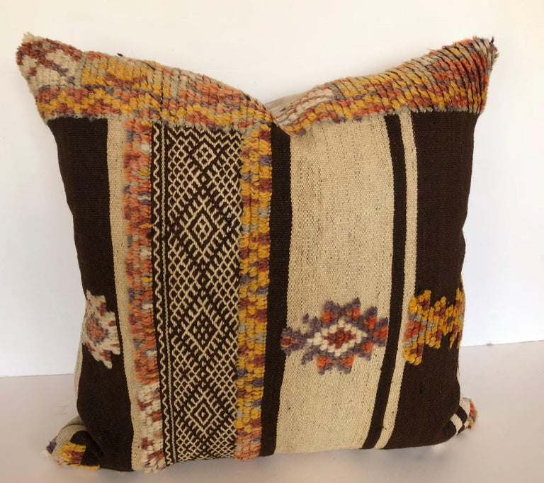 20th Century Custom Pillow by Maison Suzanne Cut from a Vintage Moroccan Wool Glaoui Rug For Sale