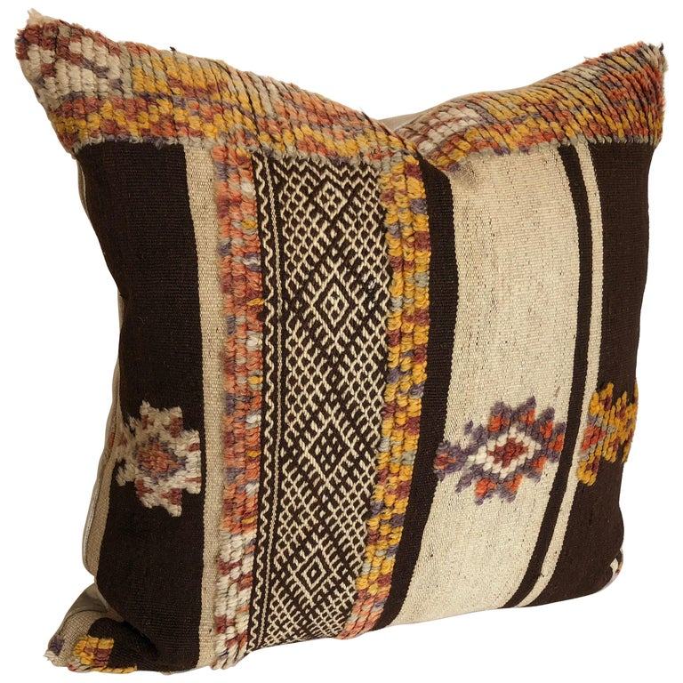 Custom Pillow by Maison Suzanne Cut from a Vintage Moroccan Wool Glaoui Rug For Sale