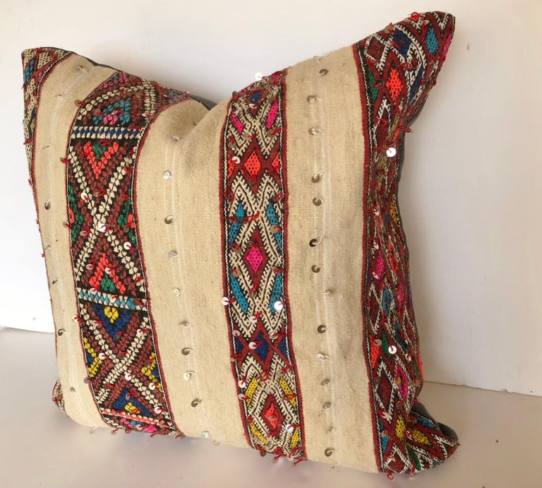 Hand-Woven Custom Pillow by Maison Suzanne Cut from a Vintage Wool Moroccan Berber Blanket For Sale