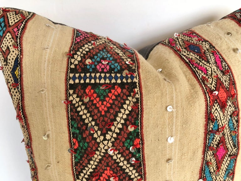 Custom Pillow by Maison Suzanne Cut from a Vintage Wool Moroccan Berber Blanket In Good Condition For Sale In Glen Ellyn, IL