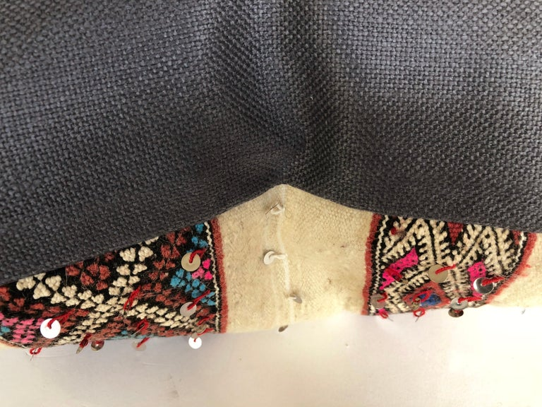 20th Century Custom Pillow by Maison Suzanne Cut from a Vintage Wool Moroccan Berber Blanket For Sale