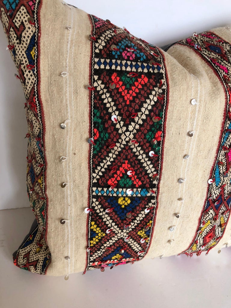 Custom Pillow by Maison Suzanne Cut from a Vintage Wool Moroccan Berber Blanket For Sale 1