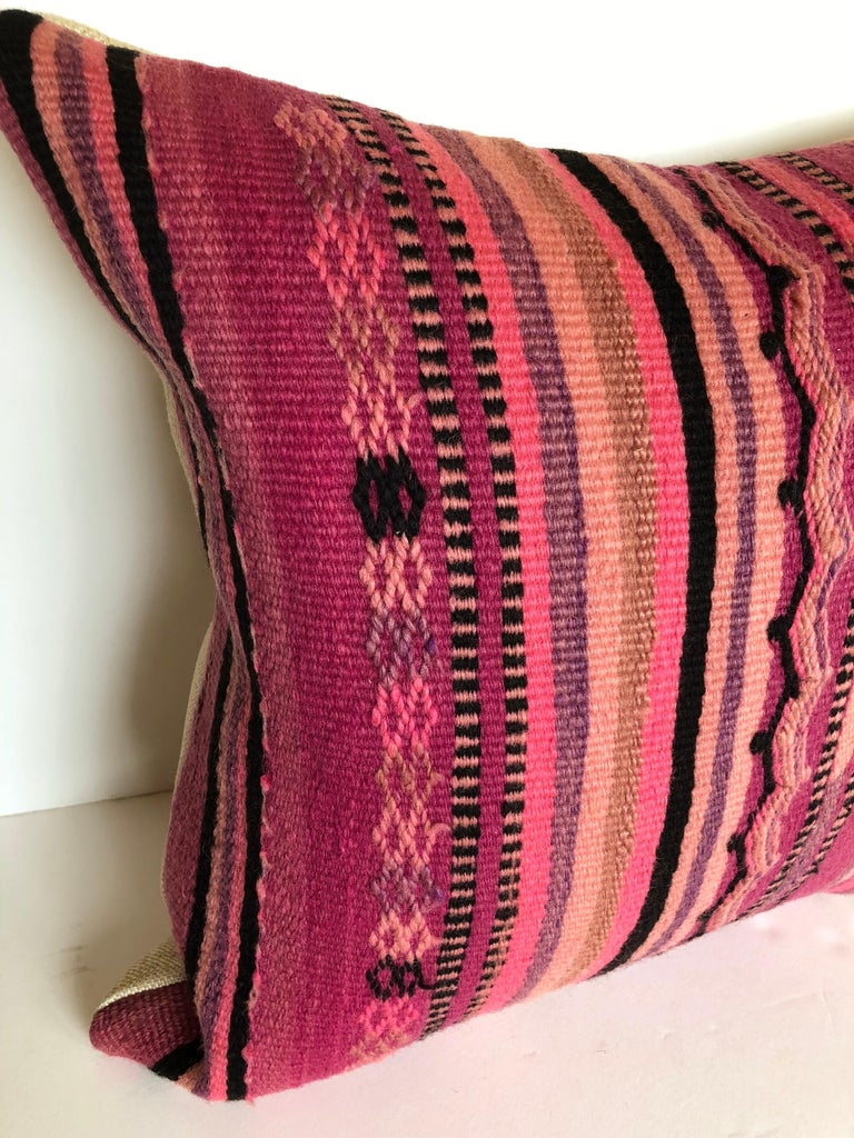 Hand-Woven Custom Pillow by Maison Suzanne Cut from a Vintage Wool Moroccan Berber Rug For Sale
