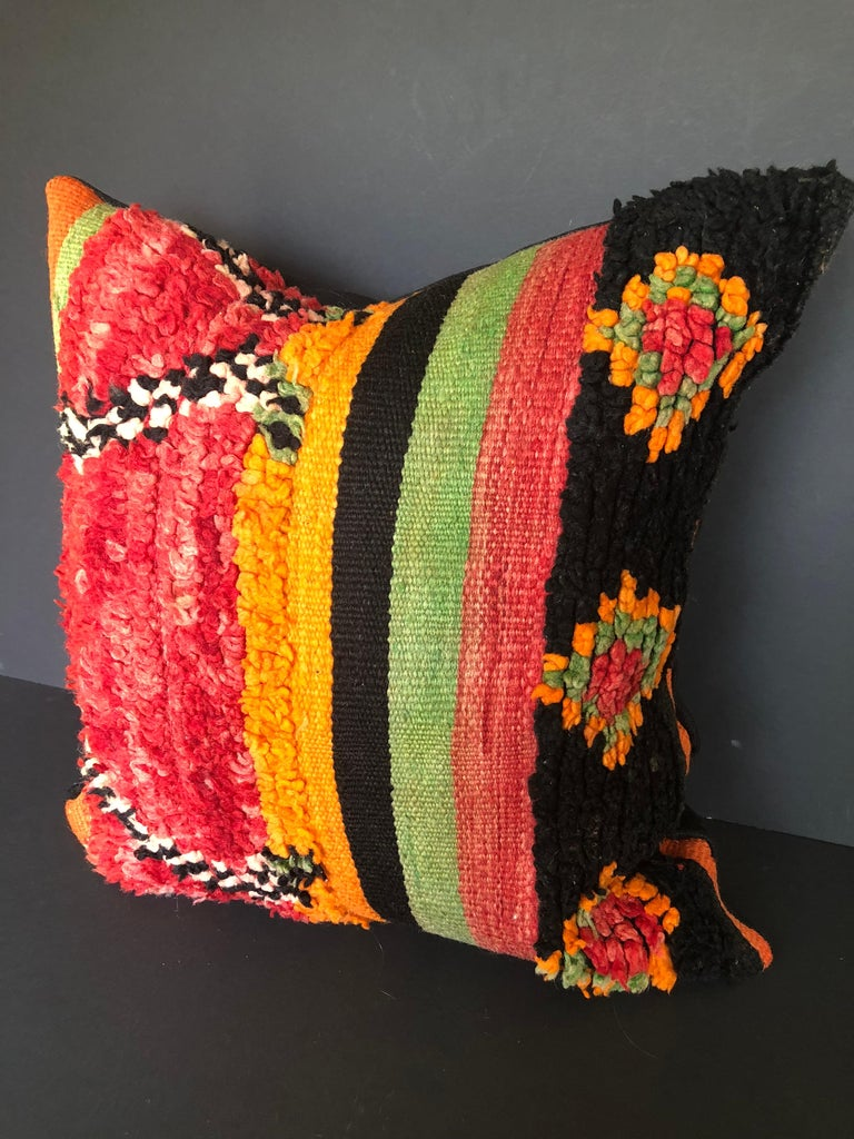 Tribal Custom Pillow by Maison Suzanne Cut from a Vintage Wool Moroccan Berber Rug For Sale