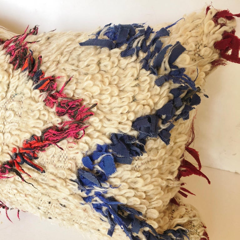 Hand-Woven Custom Pillow Cut from a Vintage Wool Moroccan Berber Rug For Sale