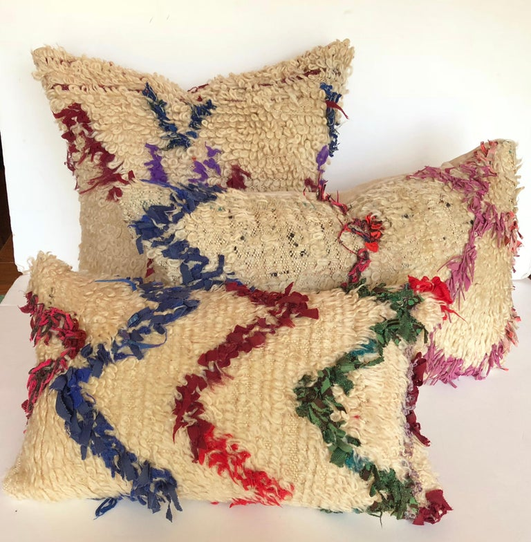 Custom Pillow Cut from a Vintage Wool Moroccan Berber Rug In Good Condition For Sale In Glen Ellyn, IL