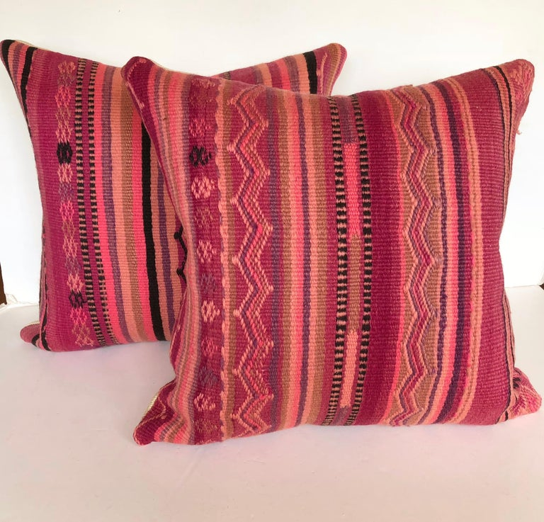 20th Century Custom Pillow by Maison Suzanne Cut from a Vintage Wool Moroccan Berber Rug For Sale