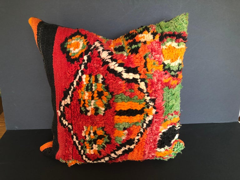 Custom Pillow by Maison Suzanne Cut from a Vintage Wool Moroccan Berber Rug In Good Condition For Sale In Glen Ellyn, IL