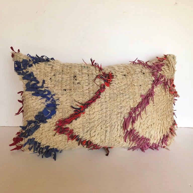 20th Century Custom Pillow Cut from a Vintage Wool Moroccan Berber Rug For Sale