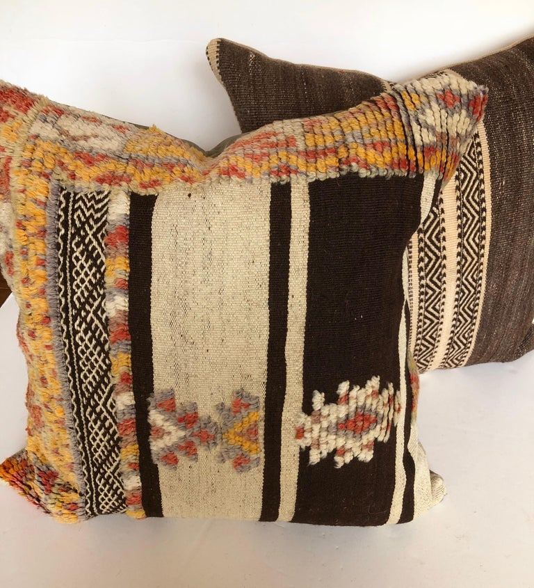 Custom Pillow by Maison Suzanne Cut from a Vintage Wool Moroccan Berber Rug For Sale 1