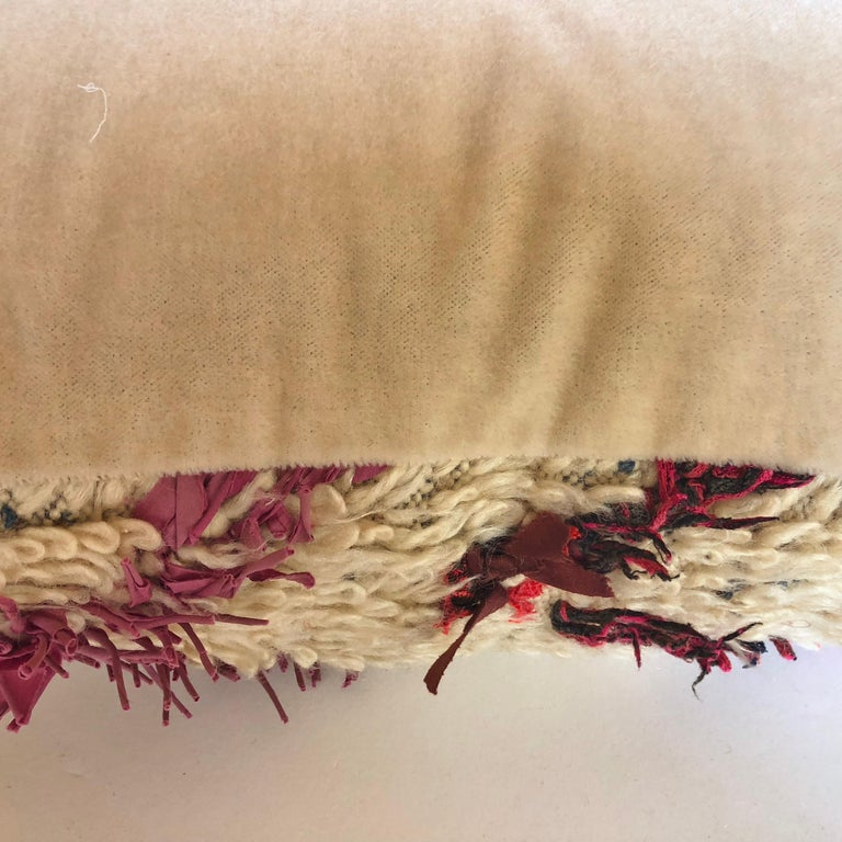 Custom Pillow Cut from a Vintage Wool Moroccan Berber Rug For Sale 2