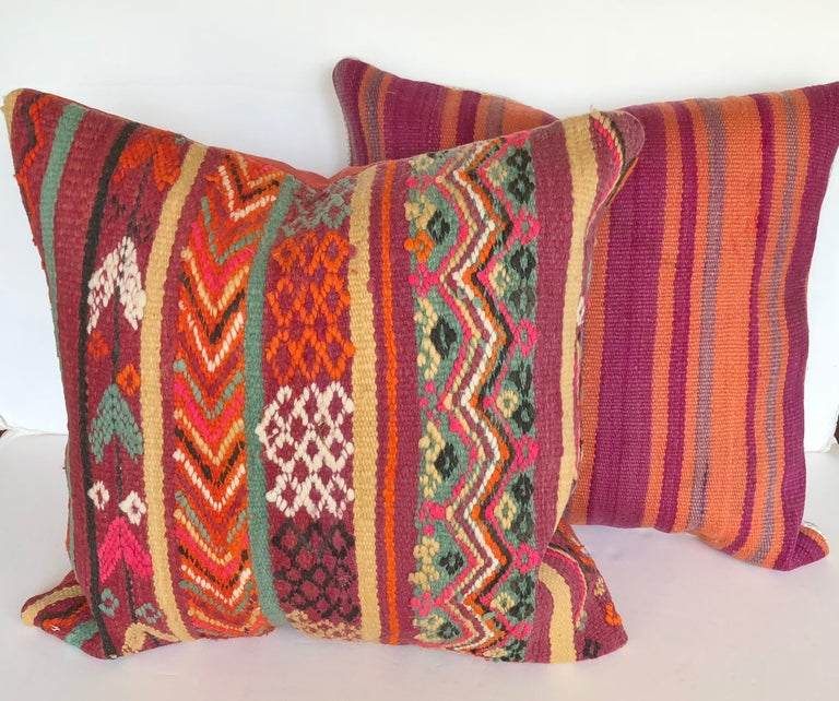 Custom Pillow by Maison Suzanne Cut from a Vintage Wool Moroccan Berber Rug For Sale 3