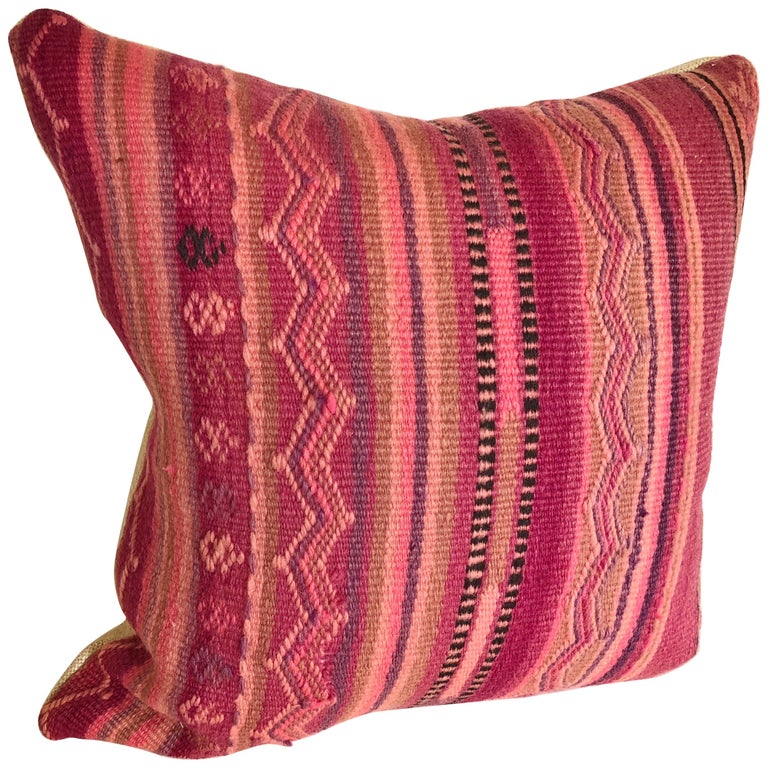 Custom Pillow by Maison Suzanne Cut from a Vintage Wool Moroccan Berber Rug For Sale