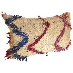 Custom Pillow Cut from a Vintage Wool Moroccan Berber Rug