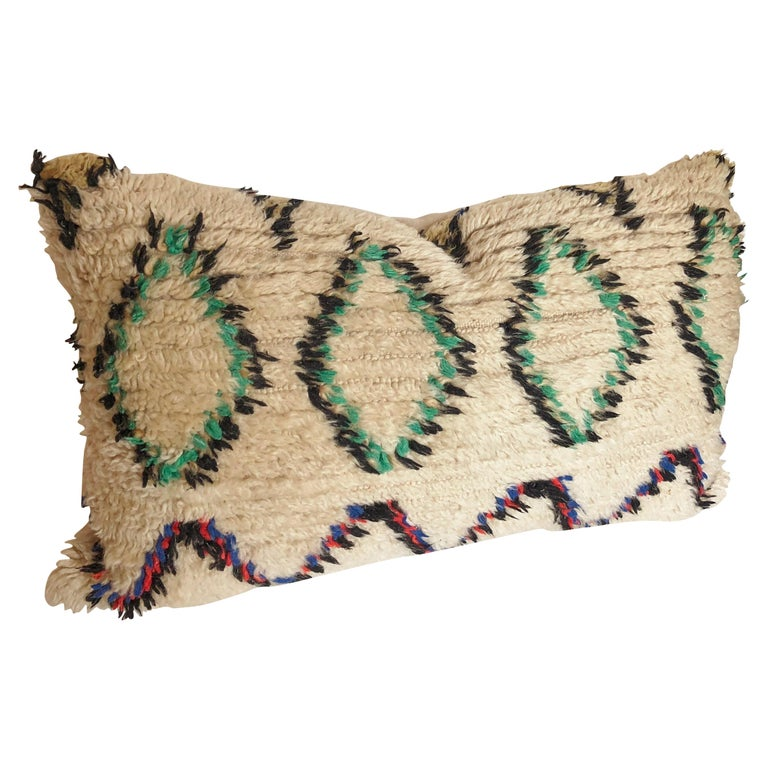 Custom Pillow Cut from a Vintage Wool Moroccan Berber Rug For Sale
